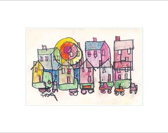 Whimsical Fine Art Limited Edition Print City Neighborhood Houses - Colorful Sunrise Upstate New York State - Affordable Wall Decor