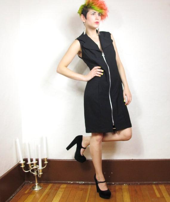 90s Black Gogo Collared Zipper Dress (M)