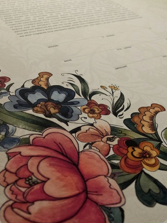 Ketubah Giclée Print by Jennifer Raichman - Tattoo Peonies