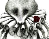 Fox say I Love You- 8 x 10 giclee print by Natalia Zezyanova