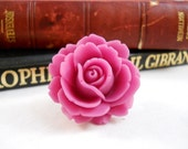 Pink Rose Ring Gifts Under 10 for Women and Teens Romantic Feminine Jewelry Big Flower Ring Pretty Cocktail Ring Adjustable Ring for Mom