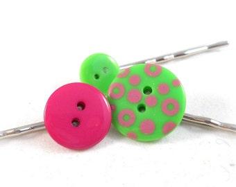 Cute Bobby Pins Pink and Green Teen Hair Accessories Tween Accessories Spring Accessories Button Bobby Pin Set Hair Bun Accessories