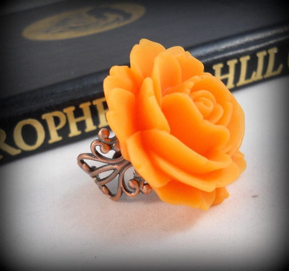 Orange Ring Rose Ring Big Flower Rings Cocktail Ring Statement Rings Copper Ring Fall Jewelry Autumn Rose Ring Orange Jewelry Pretty Ring