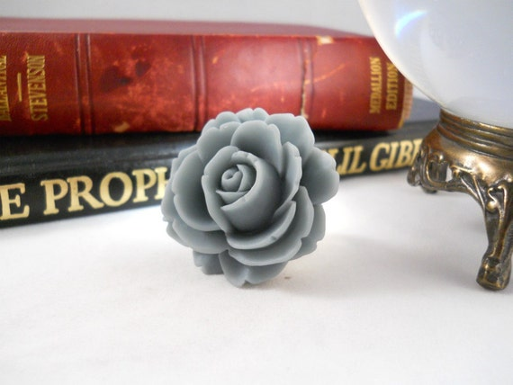 Gray Rose Ring Grey Rose Jewelry Flower Ring Cocktail Ring