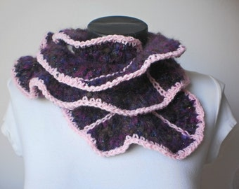 Crocheted Ruffle Scarf  in shades of purple
