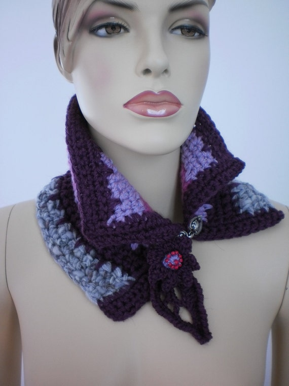 Crochet Scarf Neck warmer  Cowl Scarf in Plum  Lilac  Pink Gray