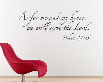 Scripture Wall Decal - As for me and my house Bible Verse Decal Quote - Christian Decal