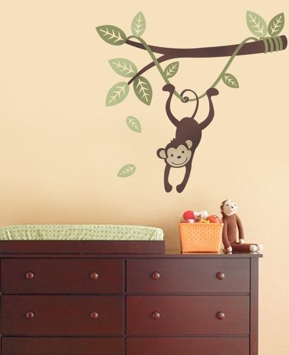 Monkey Hanging on a Branch Vine - Kids Vinyl Wall Sticker Decal Set