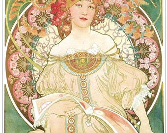 Wooden jigsaw puzzle. WOMAN FLOWERS BOOK. Alphonse Mucha. Art Nouveau. Wood, handcut, handcrafted, collectible. Bella Puzzles.