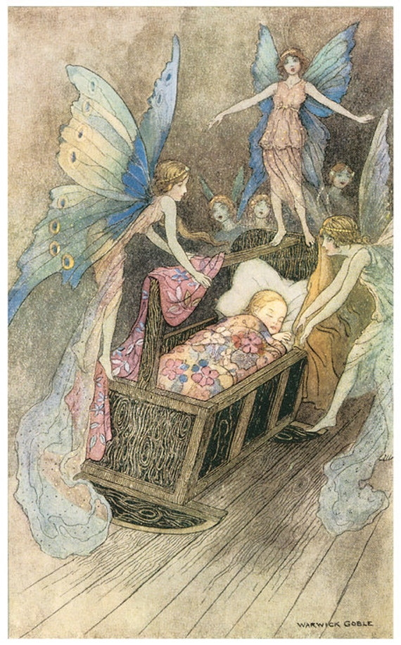 Wooden jigsaw puzzle. BABY in CRADLE & FAIRIES. Warwick Goble. Vintage illustration. Wood, handcut, handcrafted, collectible. Bella Puzzles.