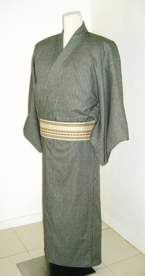 Custom listing Thank you Chihiro :) Balance of  Mens KIMONO for Summer YUKATA with Black and white stripes linen made to order