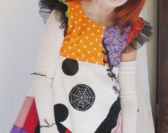 Nightmare Before Christmas Sally Dress for Girls Halloween, Nightmare Sally Halloween Costume girls dresses  sally patchwork dress