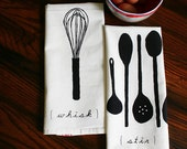 SALE. Tea Towels. Gift Set of Two. Whisk and Spoons. Original Illustration Screen Print.