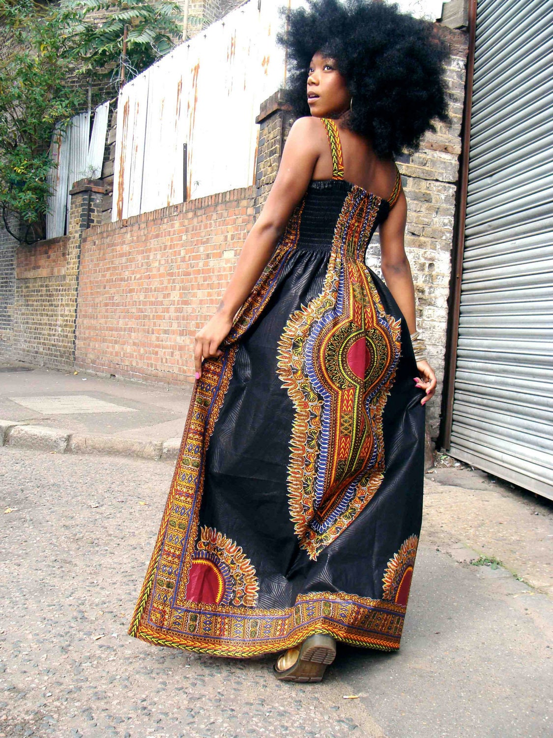 African Dashiki Diva Print Maxi Dress S/M Black by dorisanddoris