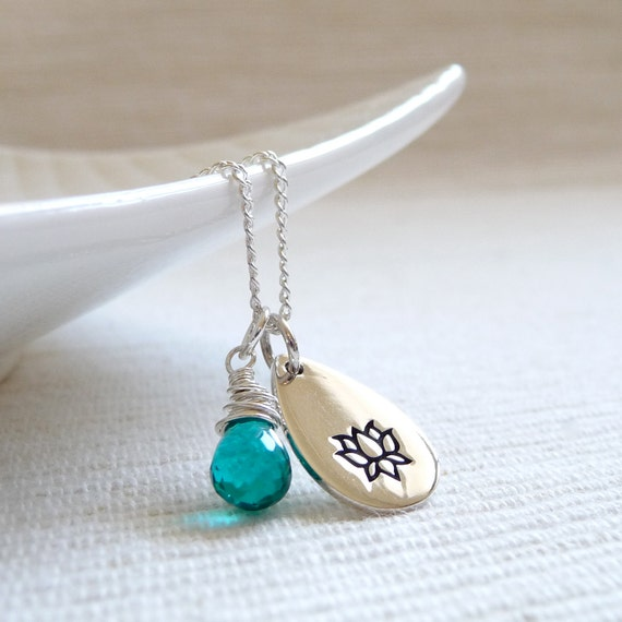 RESERVED for Diana - Lotus Necklace, Teal Quartz Necklace, Yoga Jewelry, Sterling Silver Charm Necklace
