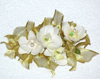 Gold, Swarovski and Orchid Barette