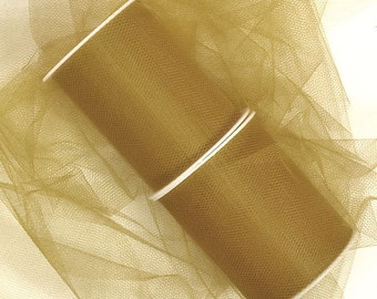"""5 yards - 3"""" Old Gold Tulle"""