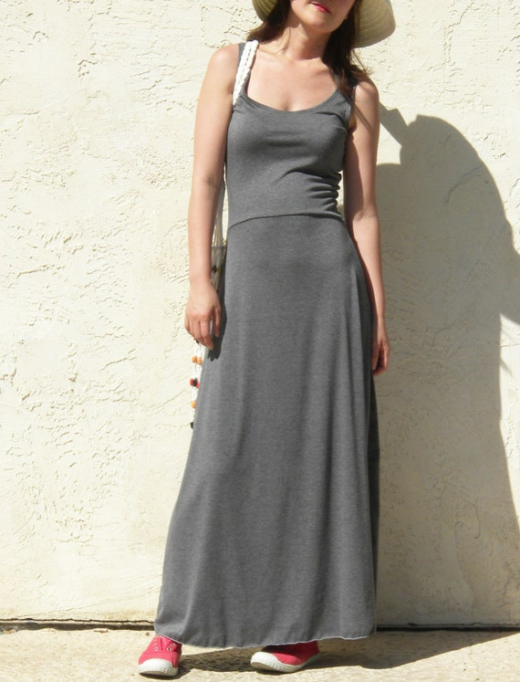 SALE / Lower Back Sleeveless Flare Maxi Dress / Handmade Dress - Charcoal Gray
