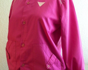 vintage VALENTINO hot pink windbreaker  with white piping and killer pockets