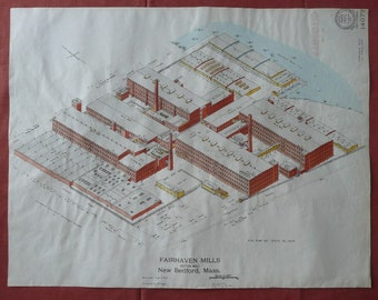 Architectural Rendering Large 1920 Factory New Bedford with Gouache or Watercolor Additions -- 1 of 2