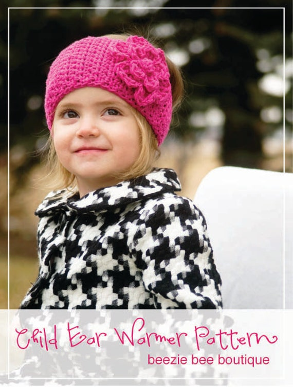 PDF Pattern for crochet CHILD Ear Warmer with Flower INSTANT