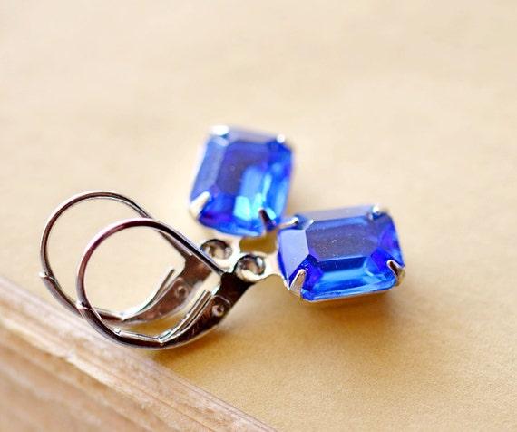 Sapphire Blue Estate Style Earrings, Sapphire Rhinestone Earrings on Silver, Blue Glass Vintage Earrings, Retro Square Earrings, Blue Drops