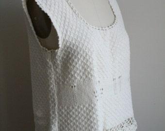 Cotton Crochet Wide Top - Loose Blouse - Tent Top