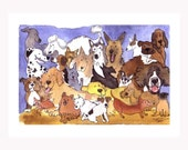 Dog Greeting Card- Funny Dog Breeds Watercolor Painting Illustration Print 'Best In Show'