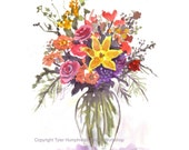 Garden Flowers Greeting Card - Watercolor Flowers - Summer Flowers Bouquet Painting Card Print