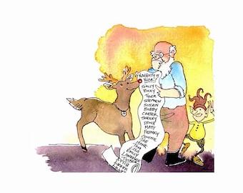 Christmas Card - Santa Clause Christmas Greeting Card - Reindeer and Elf Christmas Watercolor Card Print 'Naughty Or Nice'