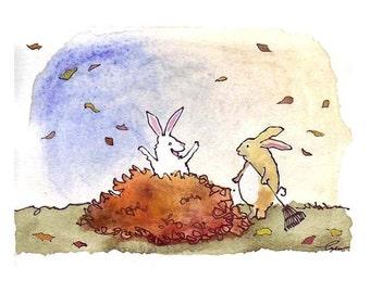 Rabbit/ Bunny Card- Bunny Rabbit Art- Funny Rabbit Greeting Card- Rabbit Watercolor Print 'Leaf Bunnies' Great Thanksgiving Card