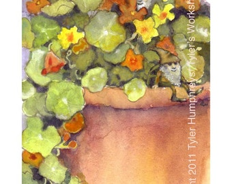 Gnome Greeting Card - Nasturtium Garden Flowers Watercolor Painting Illustration Print 'Nasturtium Gnomes'