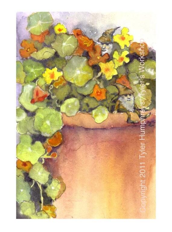 Gnome Greeting Card - Nasturtium Garden Flowers Watercolor Painting Illustration Print 'Nasturtium Gnomes'