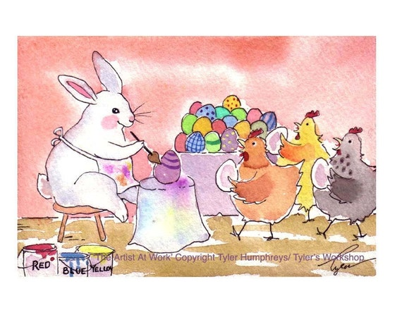 Easter Card - Funny Bunny Rabbit Chickens Easter Greeting Card - Childrens Easter Card - Easter Bunny Card- 'The Artist At Work'