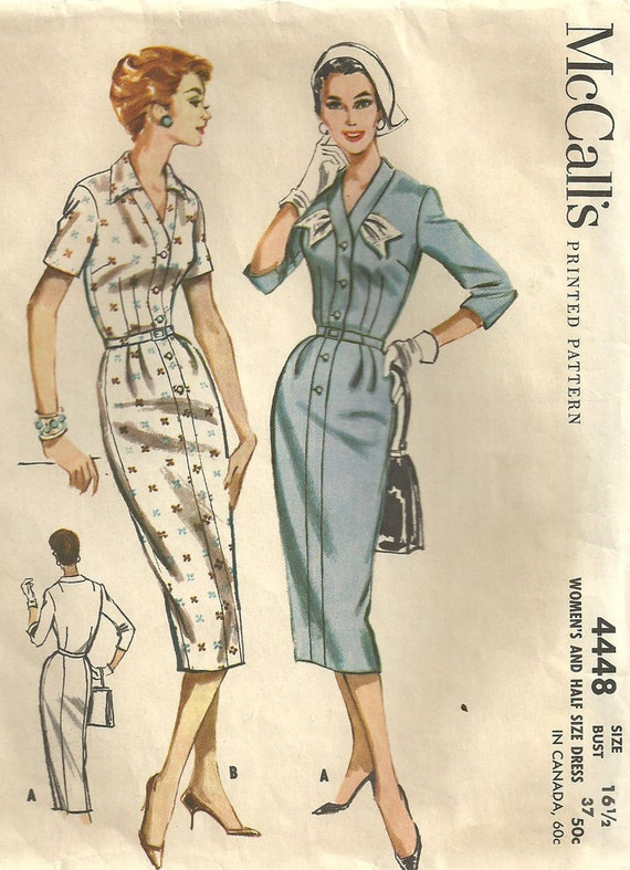 Vintage 50s Half Size Sewing Pattern from McCalls 4448 Dress Bust 37