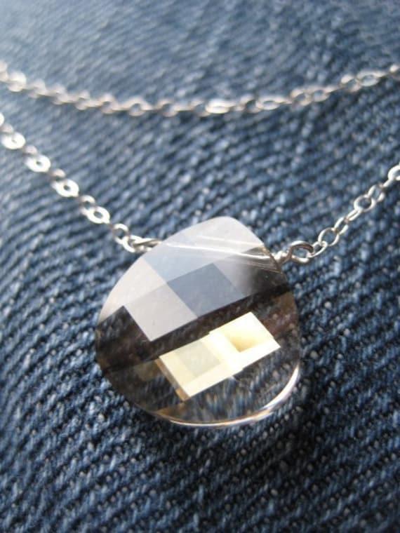 Layered Silver Necklace, Silver Shade Swarovski Crystal