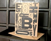 CLEARANCE Typography Cards, Set of Four, Mixed Wood Type Industrial Letterpress Cards