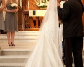 Cathedral veil with Alencon lace trim - Nancy