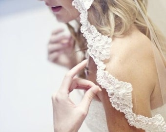 Mantilla bridal veil with Alencon lace - Julie
