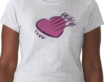 Heart T-Shirt - Graphic Tee - Womens Short Sleeve Cotton Tee