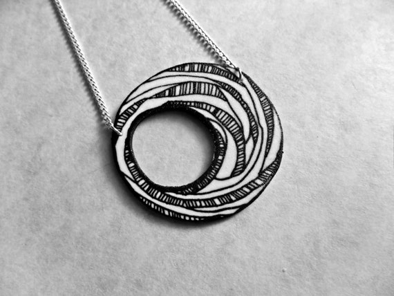 Surreal Circle and Stripes Necklace