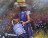 Wildflowers Art Print, garden girl, paintings, prints, brunette girl, flowers, childrens art, home decor, wall art