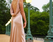 Ella Bridal Gown, Floor Grazing, 1930s Inspired Bias Cut, Silk Satin, Backless, low back, customizable