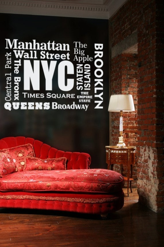 New York Wall Decal, Word Collage Decal, NYC Decal, New York Famous Places, Typography Wall Decal, Wanderlust Wall Decor, Dorm Decor