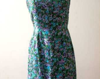 Vintage 1950s Beaded Floral Silk Wiggle Dress