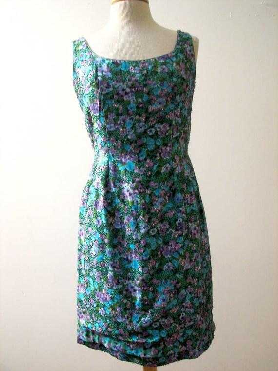 Vintage 1950s Beaded Floral Silk Wiggle Dress