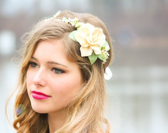 bridal headband, wedding accessories, natural bridal headpiece, bridal headband, natural flower crown