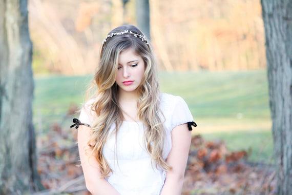 Bridal headband, wedding accesories, woodland bridal wreath