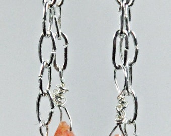 Sunstone briolettes with silver about 2 inches long earrings