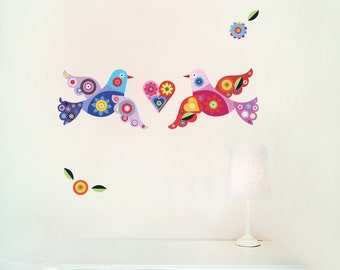 Birds Wall Decals Fabric Wall Stickers (not vinyl) - Small